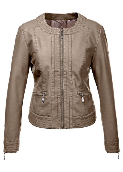 Collarless leather look jacket