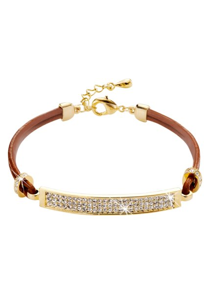Gemstone encrusted leather bracelet