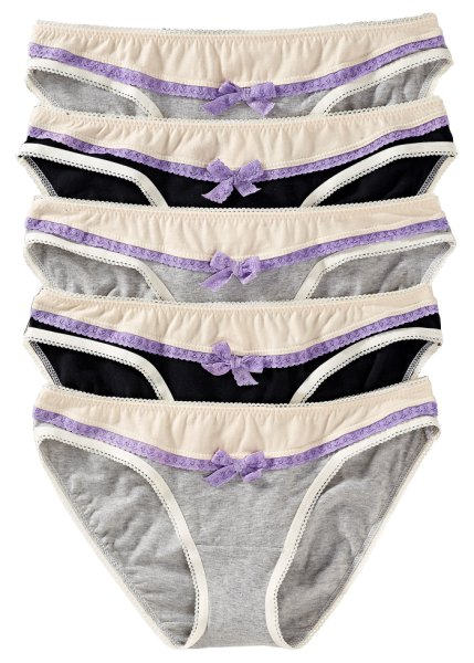 Pack of 5 lace trim briefs