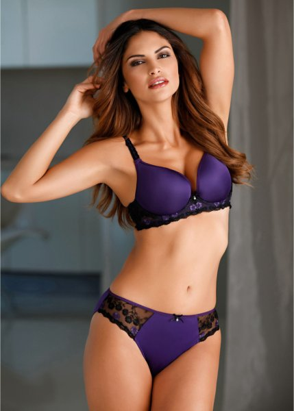 Purple padded bra, D cup