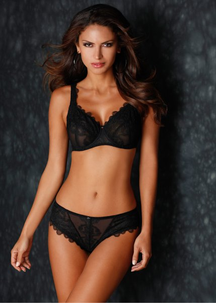 Sheer embroidered briefs